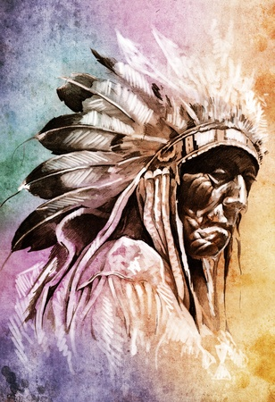 Sketch of tattoo art, indian head over colorful background Stock Photo - 13100848