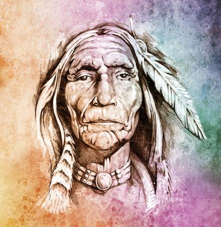 indio americano: Boceto de arte del tatuaje, el retrato de la cabeza de los indios americanos en papel de colores