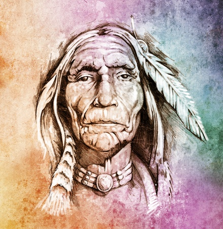 indian old man: Sketch of tattoo art, portrait of american indian head over colorful paper Stock Photo