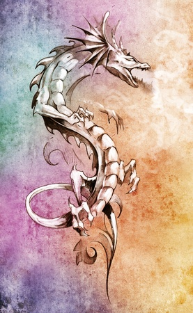 tribal dragon: Sketch of tattoo art, big medieval dragon, fantasy concept over colorful paper