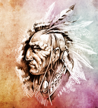 Sketch of tattoo art, American Indian Chief illustration over colorful paper