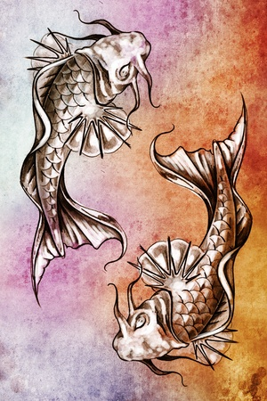 Sketch of tattoo art, japanese goldfish over colorful paper photo