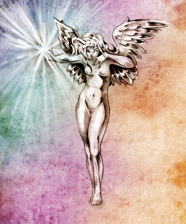 Sketch of tattoo art, fairy angel, nude woman over colorful paper photo