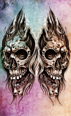 Sketch of tattoo art, skull head illustration, over colorful paper Stock Illustration - 13100717