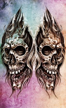 Sketch of tattoo art, skull head illustration, over colorful paper illustration