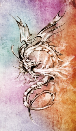 paper flying: Sketch of tattoo art, stylish dragon illustration over colorful paper