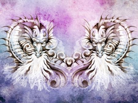 Sketch of tattoo art, fantasy medieval dragons heart photo