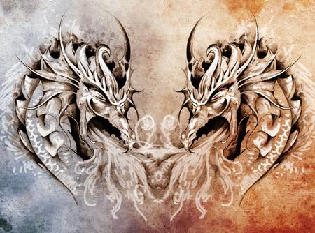 tatuaje dragon: Arte del tatuaje, el coraz�n medieval de la fantas�a dragones Foto de archivo