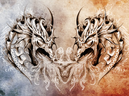 pattern monster: Tattoo art, fantasy medieval dragons heart