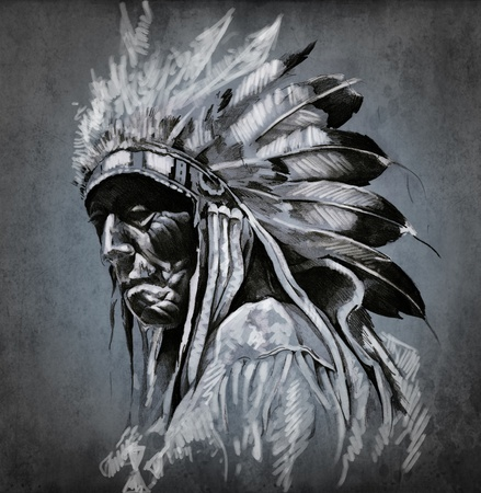 indian old man: Tattoo art, portrait of american indian head over dark background Stock Photo