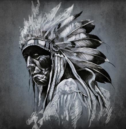 Tattoo art, portrait of american indian head over dark background Standard-Bild