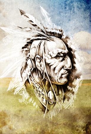 details: Sketch of tattoo art, indian head over cropfield background