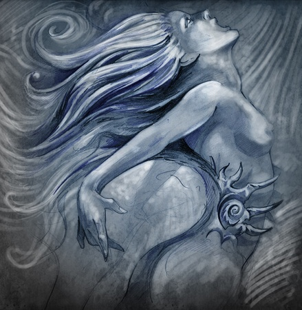 Nude mermaid illustration in blue colors with shine effects illustration