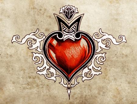 Valentine Day. Sketch of tattoo art, tribal design, heart photo