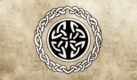 Celtic shield. Sketch of tattoo art, ornament design photo