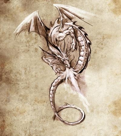 tatouage dragon: Croquis de l'art du tatouage, Fantasy dragon. Croquis de l'art du tatouage, monstre m�di�val