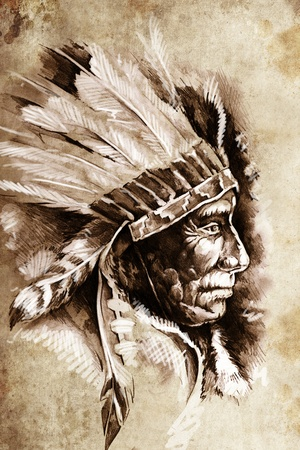 indian ink: Indian Head Chief Illustration. Sketch of tattoo art, over vintage paper Stock Photo