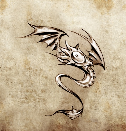 Funny little dragon. Sketch of tattoo art, stylish fantasy monster photo