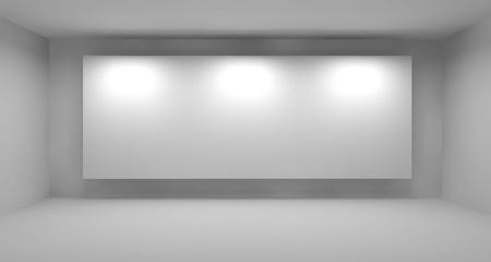 Empty room with white frame, art gallery concept, 3d illustration Standard-Bild