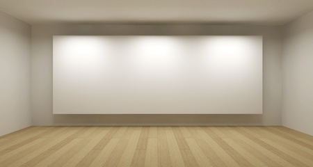 Empty room with white frame, art gallery concept, 3d illustration Stock Photo