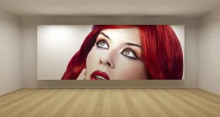 Empty room with red hair young picture, art gallery concept, 3d illustration illustration