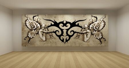 Empty room with tattoo picture, art gallery concept, 3d illustration illustration