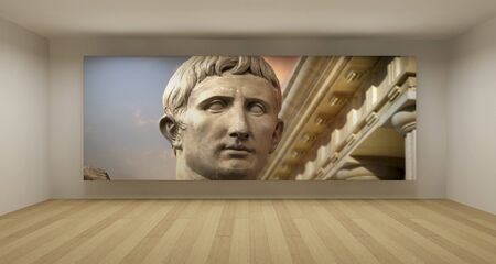 Empty room with ancient greek picture, art gallery concept, 3d illustration illustration