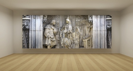 Empty room with ancient bas-relief picture, art gallery concept, 3d illustration illustration
