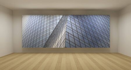 Empty room with modern glass building picture, 3d art concept, clean space photo