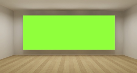 Empty room with green chroma key backdrop, 3d art concept, clean space Stock Photo