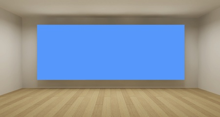 Empty room with blue chroma key backdrop, 3d art concept, clean space photo