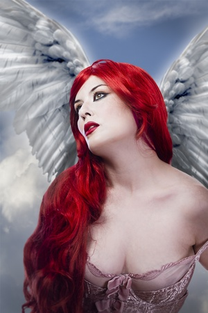 dark face: Beautiful sexy angel with wings, red long hair woman