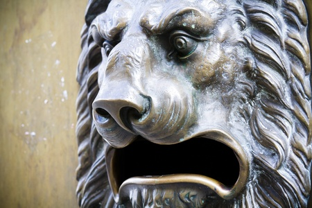 Lion Head, bronze sculpture photo