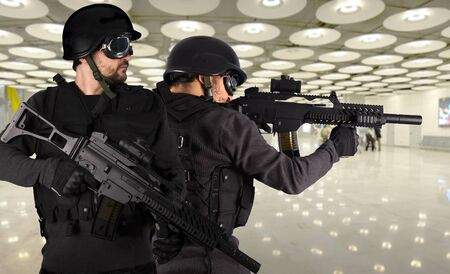 iraq: Defense against terrorism, two soldiers at an airport