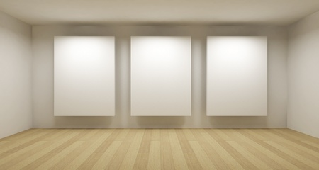 text room: Empty gallery, 3d room