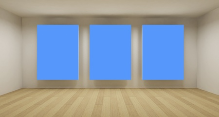 text room: Business room, 3d art with empty space, three blue chroma key frames