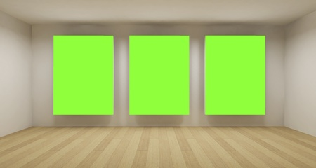 Business room, 3d art with empty space, three green chroma key frames photo