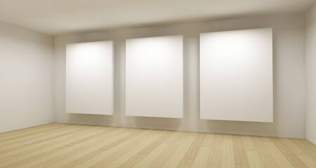 Medical room, 3d art with empty space, three white frames photo
