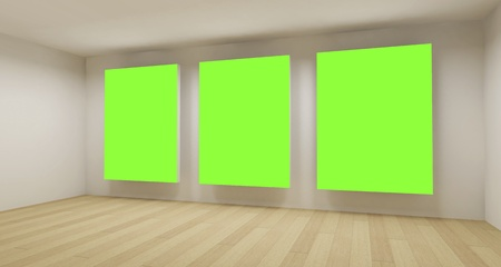 Medical room, 3d art with empty space, green chroma key photo