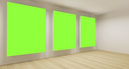 Clean school room, empty 3d space with three green chroma key frames photo