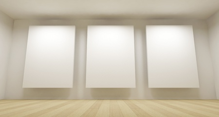 Clean school room, empty 3d space with three white frames photo
