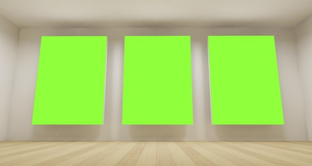 Clean school room with three green chroma key backdrop, 3d art concept, clean space photo