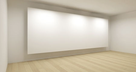 art gallery interior: Empty school room with big white backdrop, 3d art concept, clean space