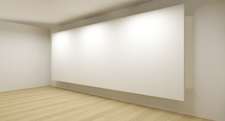 Clean gallery with white backdrop, 3d art photo