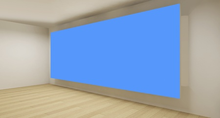Clean gallery with blue chroma key backdrop, 3d art photo