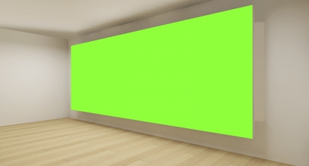 text room: Clean room with green chroma key backdrop, 3d art concept, empty space