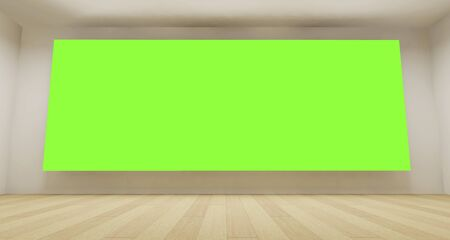 Empty room with green chroma key backdrop, 3d art concept, clean space photo