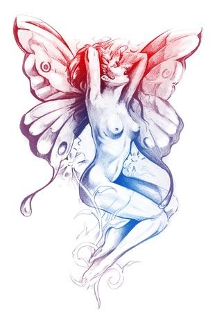 Naakt fee. Fantasy schets van tattoo kunst, naakte vrouw figuur