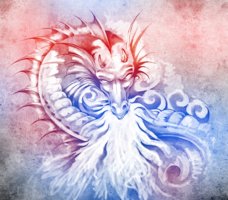 Sketch of tattoo art, fantasy medieval dragon with white fire photo