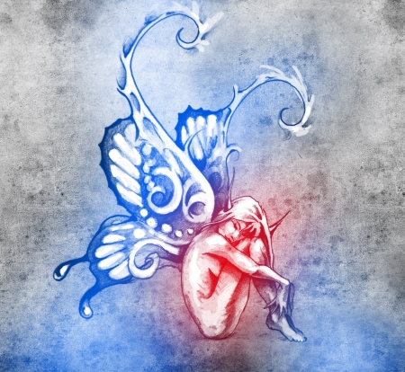 dark elf: Sketch of tattoo art, fairy with butterfly wings